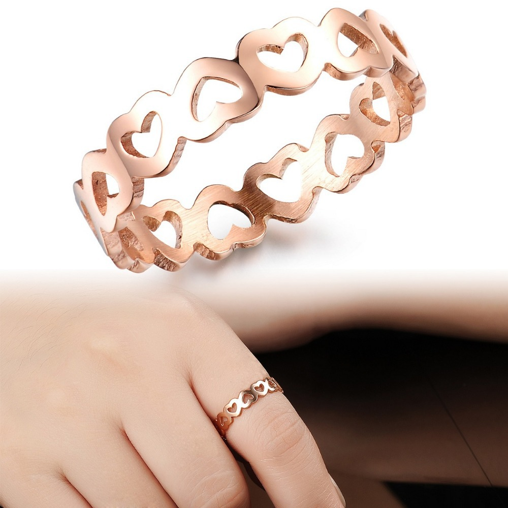Fashion Designer Hollow Heart Rose Gold Plated Rings Stainless ...