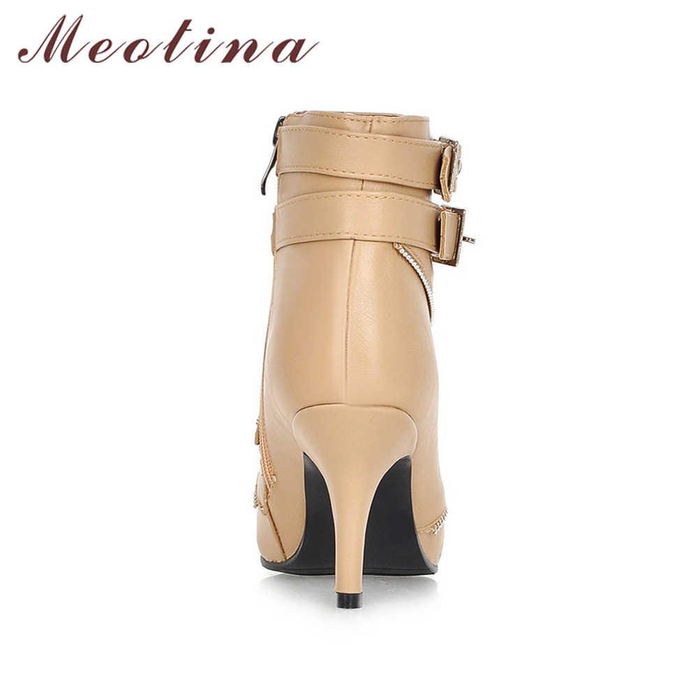 Meotina Kadın yarım çizmeler Sivri Burun Toka Yüksek Topuk Çizmeler Seksi Bayanlar Kış Çizmeler Kayısı Beyaz Artı Boyutu 42 43 Botas mujer