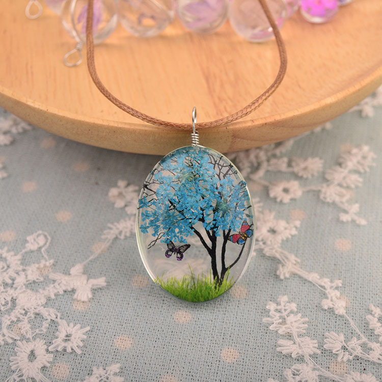 dried flower necklace pendant