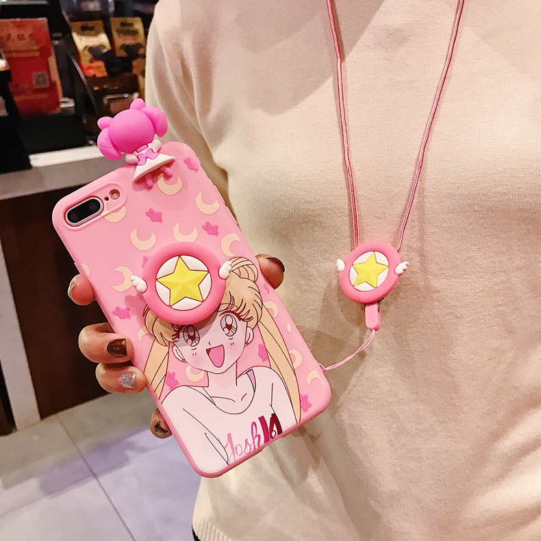 , Cute Japan Sailor Moon Pink Phone Case For iPhone X 8 7 6 6s Plus XS Max XR Soft 3D Doll Toys Cartoon Stand Lanyard Back Cover
