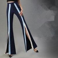 2018 Fashion Women Wide Leg Pants Stripe Split Bell Bottom Pants office lady High Waist Flare chiffon pants