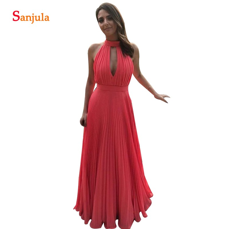 Draped Chiffon   Bridesmaid     Dresses   With Pleats A-line High Neck Floor Length Long Prom   Dress   Women Wedding Guest Gowns BY17