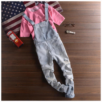 2018 Mens Distressed Jeans Bib Overalls Fashion Light Blue Denim Work Overalls Men One Piece Denim Jumpsuit Long Trousers XXL