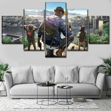 Painting For Canvas Wall Art 5 Piece  HD Print Game Watch Dogs 2 Living Room Artwork