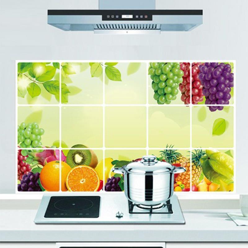 75 45cm Grape Apple Pineapple Foil Oil Proof Wall Sticker Lemon Fruit Decals Kitchen Decor