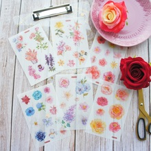 6 Sheets Style Mail You A Flower Design Washi Paper Sticker As Scrapbooking DIY Gift Packing Decoration Tag
