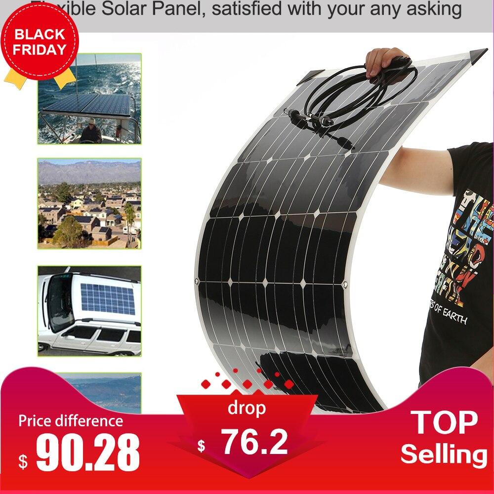 Portable Flexible Panneaux Solaires 18 v 100 w Haute Qulity Voiture Solaire Panneau Chine Avec Boîte de Jonction Étanche IP65 Pour RV plaque CELLULES