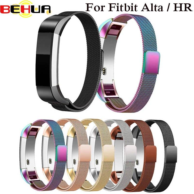 Fecho magnético Pulseira Milanese Strap Watch Band Para Fitbit Alta Banda Fit Bit Alta HR Substituição Pulseira Acessórios Inteligentes