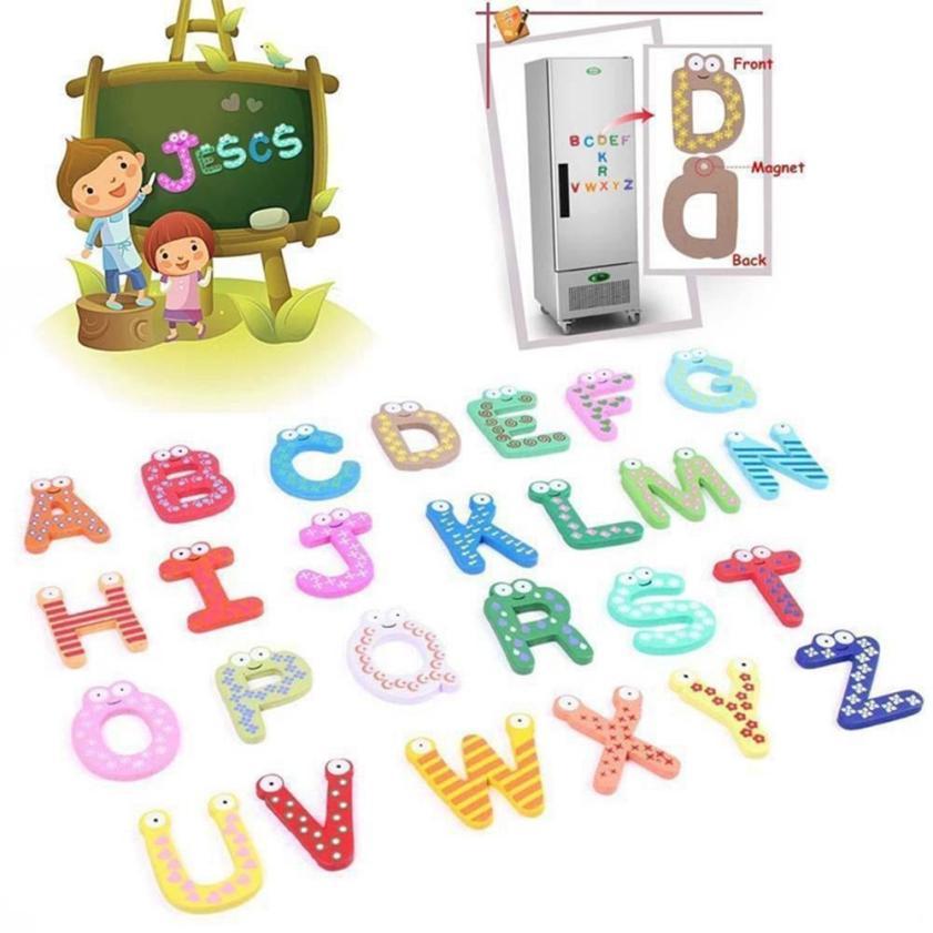 26 букв деревянный мультфильм магнит на холодильник Малыш Детские развивающие игрушки 5,31