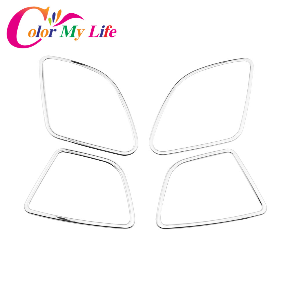 Color My Life Car Stainless Steel Trim Speaker Ring Decoration Modified Cover Sticker for Ford Fiesta 2009 - 2013 Accessories