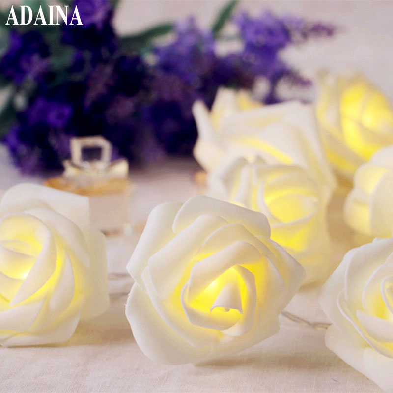 1/2/3/4/5M 10/40 LEDs Rose Table Lights Wire String Light For Christmas Wedding Lighting LED Garland Strip Home Party Decoration 3w 40 led blue light decoration string light for christmas wedding party 3 x aa