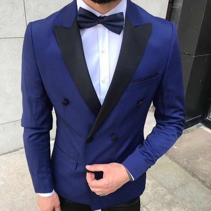 Fashion navy tuxedos groom wedding men suits 2 pieces tuxedo blazer costumes de smoking pour hommes men(Jacket+Pants+Tie)(China)