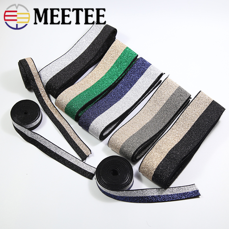 Meetee 40mm Soft Skin Gold Silver Nylon Elastic Bands Webbing Pants Waist Belt Rubber Band Binding Tapes DIY Bags Sewing Crafts(China)