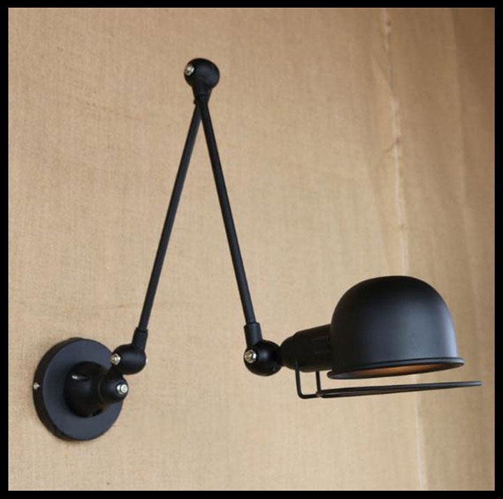 e14 vintage lamp jielde black metal 2 arms industrial wall lamp loft style wall light. Black Bedroom Furniture Sets. Home Design Ideas