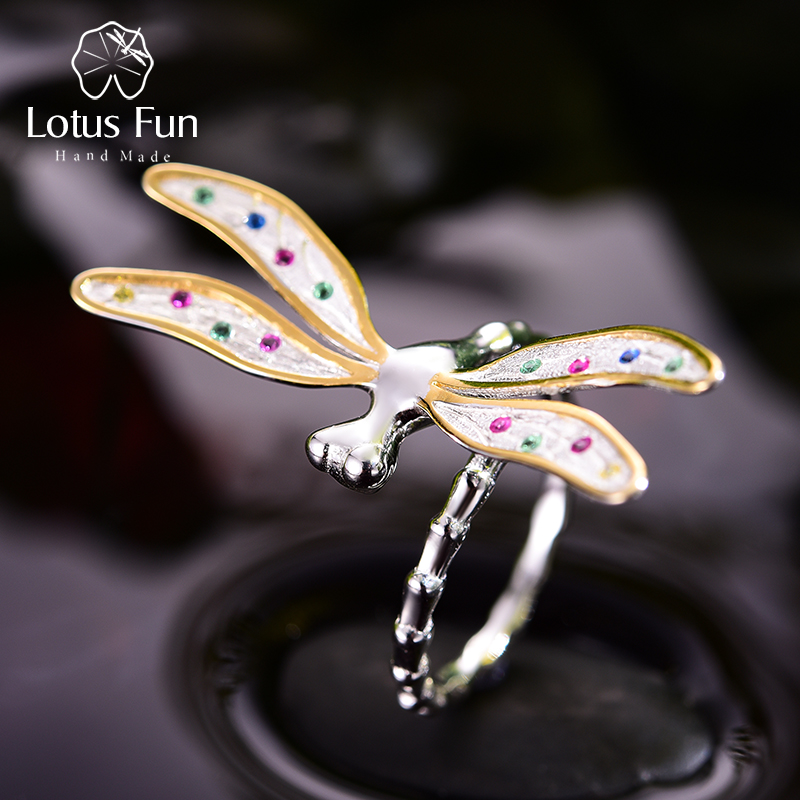Lotus Fun Real 925 Sterling Silver Handmade Fine Jewelry Multicolor Zirconia Beautiful Dragonfly Design Rings For Women