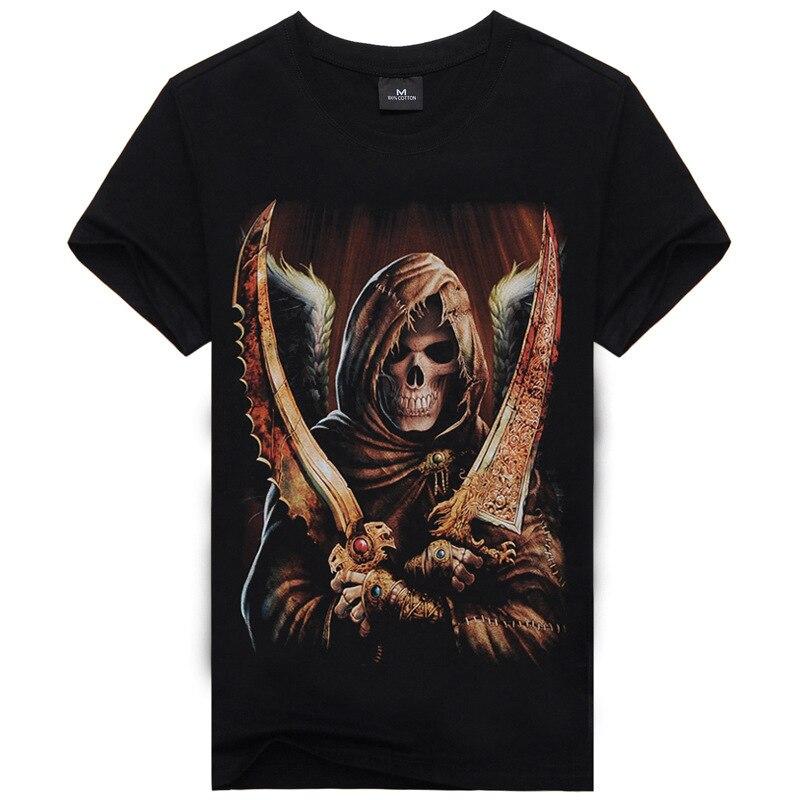スカル3dプリントtシャツメンズtシャツ綿通気性半袖シャツ黒男性スリムシャツ