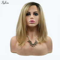 Sylvia Blonde Bob Wig Natural Straight Synthetic Hair Short Dark Roots to Gold/Blond High Temperature Lace Front Wigs for Ladies