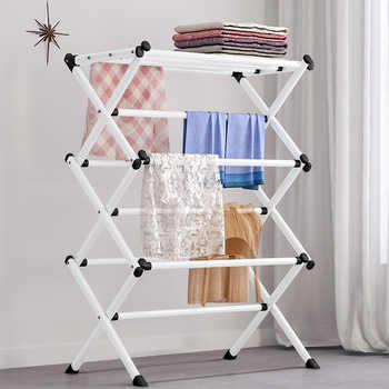 Simple Metal Coat Rack Folding Paiting Iron Fashion Clothing Drying Rack Towel Shelf Detachable Portable Home Storage Rack - DISCOUNT ITEM  5% OFF All Category