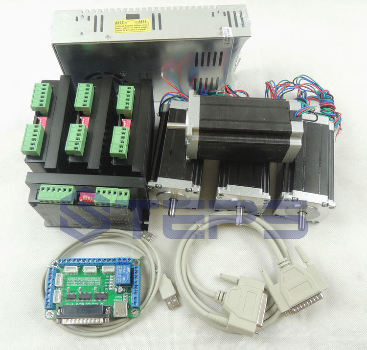 CNC mach3 4 Axis kit, 4pcs TB6600 driver +one breakout board + 4pcs Nema23 425 Oz-in stepper motor + 350W power supply#ST-4045 цена