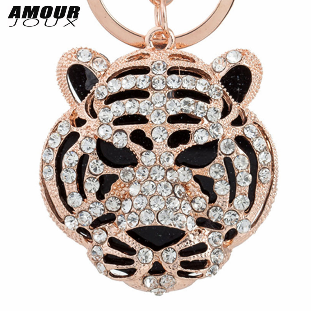 AMOURJOUX Fashion Animale Pendant Key Chains For Women Men Handsome Tiger Charms Gold Keyrings Car Keychains Key Chain Gift