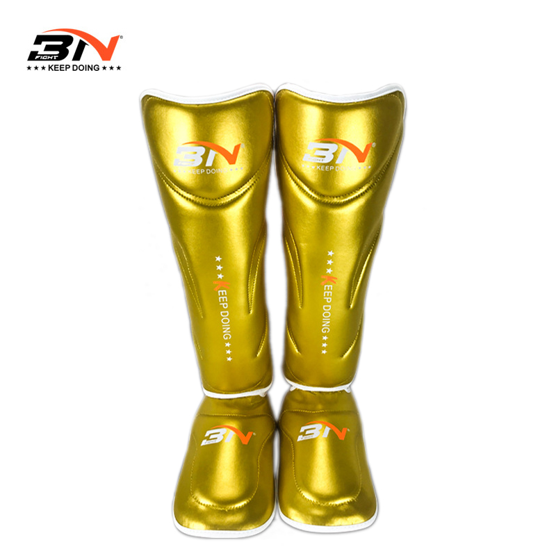 New Microfiber Leather Boxing Shin Guards Champaign Gold Ankle Protector MMA Muay Thai Training Leg Warmers