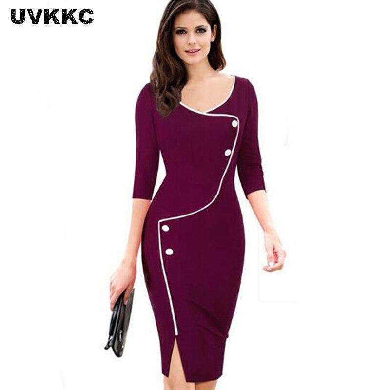 UVKKC Vestido de Oficina para Mujer Breve Parte inferior Dividida - Ropa de mujer