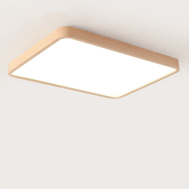 Square Oak Led Ceiling Lights For Bedroom Kitchen Balcony Rectangle Modern Wooden Lamp Light Fixture