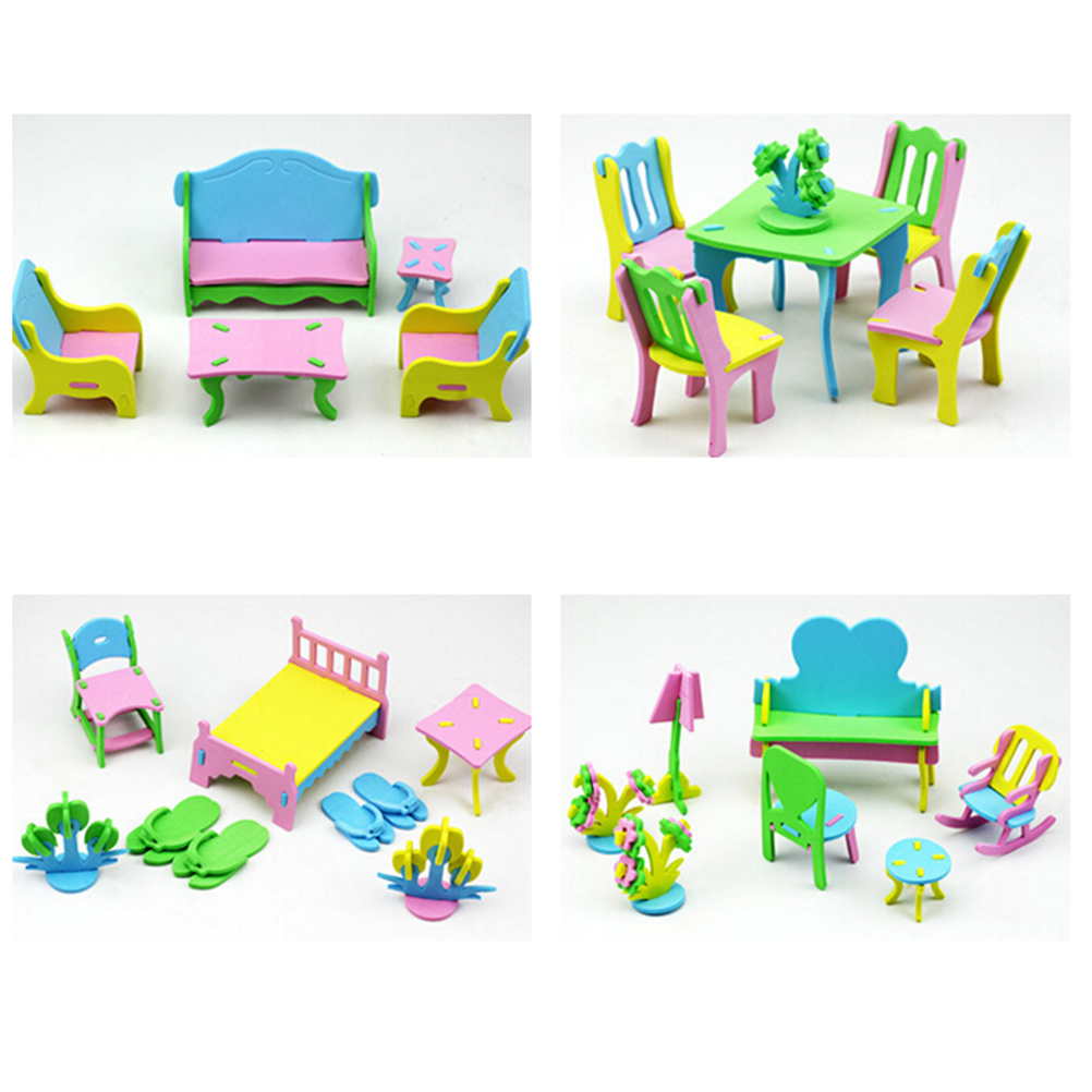Children Jigsaw Puzzles DIY Handmade 3D Furniture Model EVA Educational Toys For Children 3+ Years
