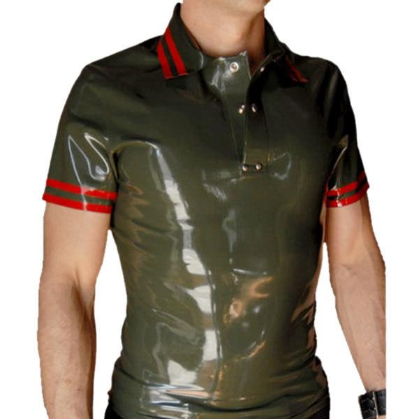 Горячая Распродажа! Мужская рубашка из натурального латекса, облегающая, латексная, ручная работа, рубашка поло, толщина 0,4 мм, высокое качество - 4
