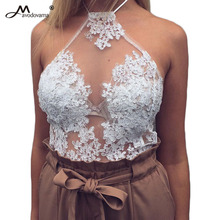 Avodovama M Women Summer 2017 New Camis Bodycon Embroidery Floral Halter Neck Perspective Top Feminino Sexy Clothes Strapless