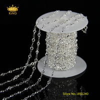 5meters 4mm Clear White Glass Faceted Round Coin Chains Wire Wrapped Cut Glass Plated Silver Links Rosary Chain Supplies JH11