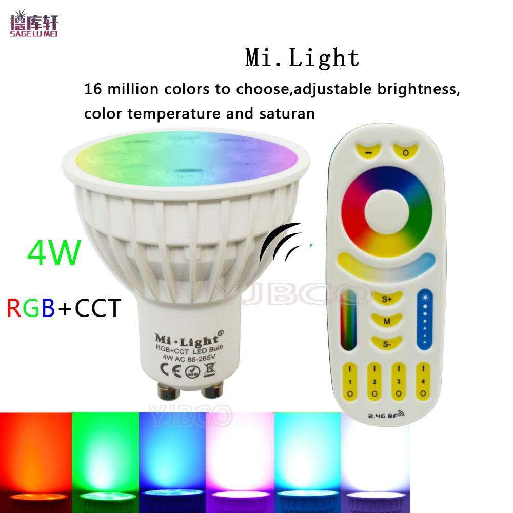 Mi light 4W GU10 RGB+CCT AC85-265V LED Dimmable 2.4G Wireless Remote Mi light Led Bulb Led Spotlight Smart Led Lamp Lighting dc12v 2 4g wireless milight dimmable led bulb 4w mr16 rgb cct led spotlight smart led lamp home decoration