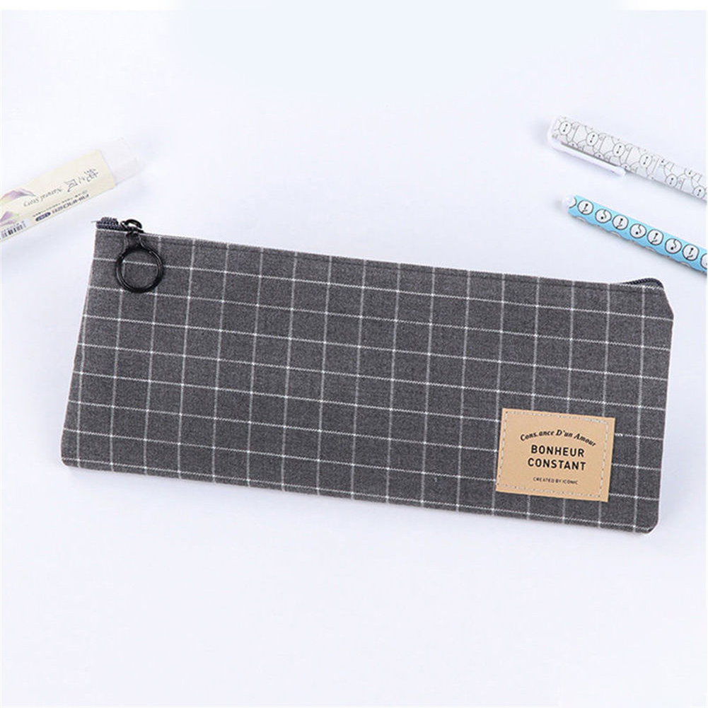 Students Canvas Cosmetic Pouch Zipper Pen Bag Stationery Makeup Pencil Case Grid Organizer Storage