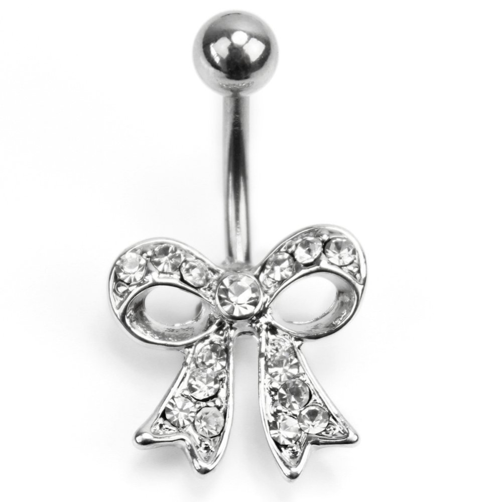 Bowknot Pendant Belly Button Ring Rhinestone Crystal Body Art Piercing Jewelry