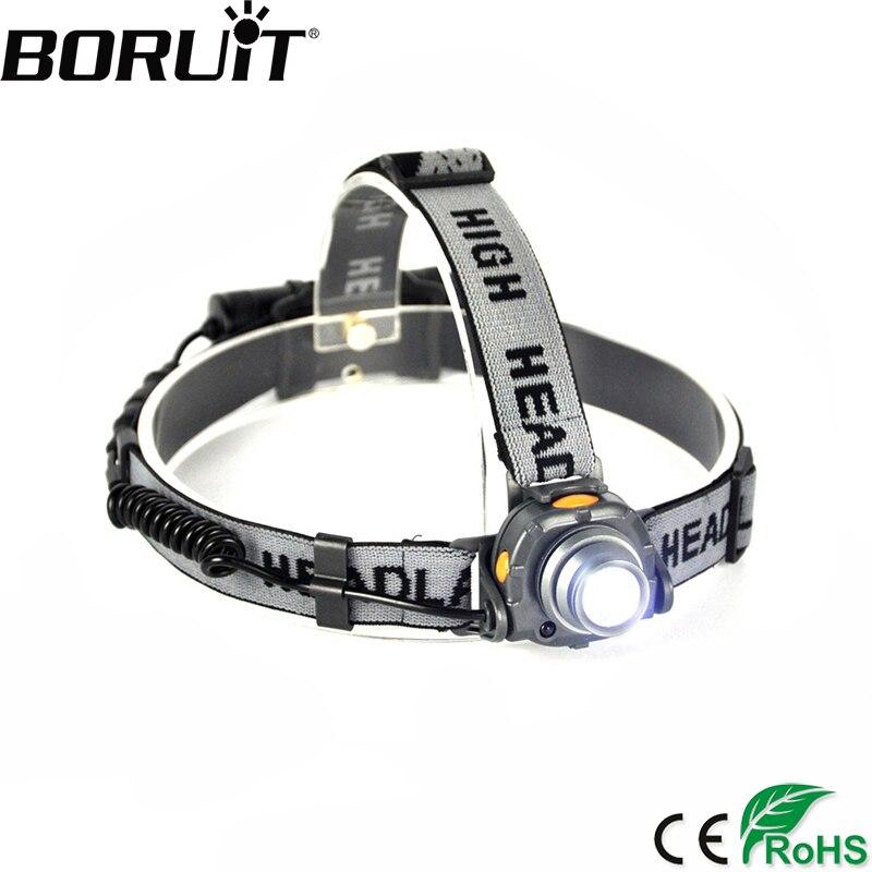 BORUiT Aluminum XPE LED Headlamp with IR Sensor Control Headlight for Fishing Head Lamp Torch Lantern Light by 18650 Battery