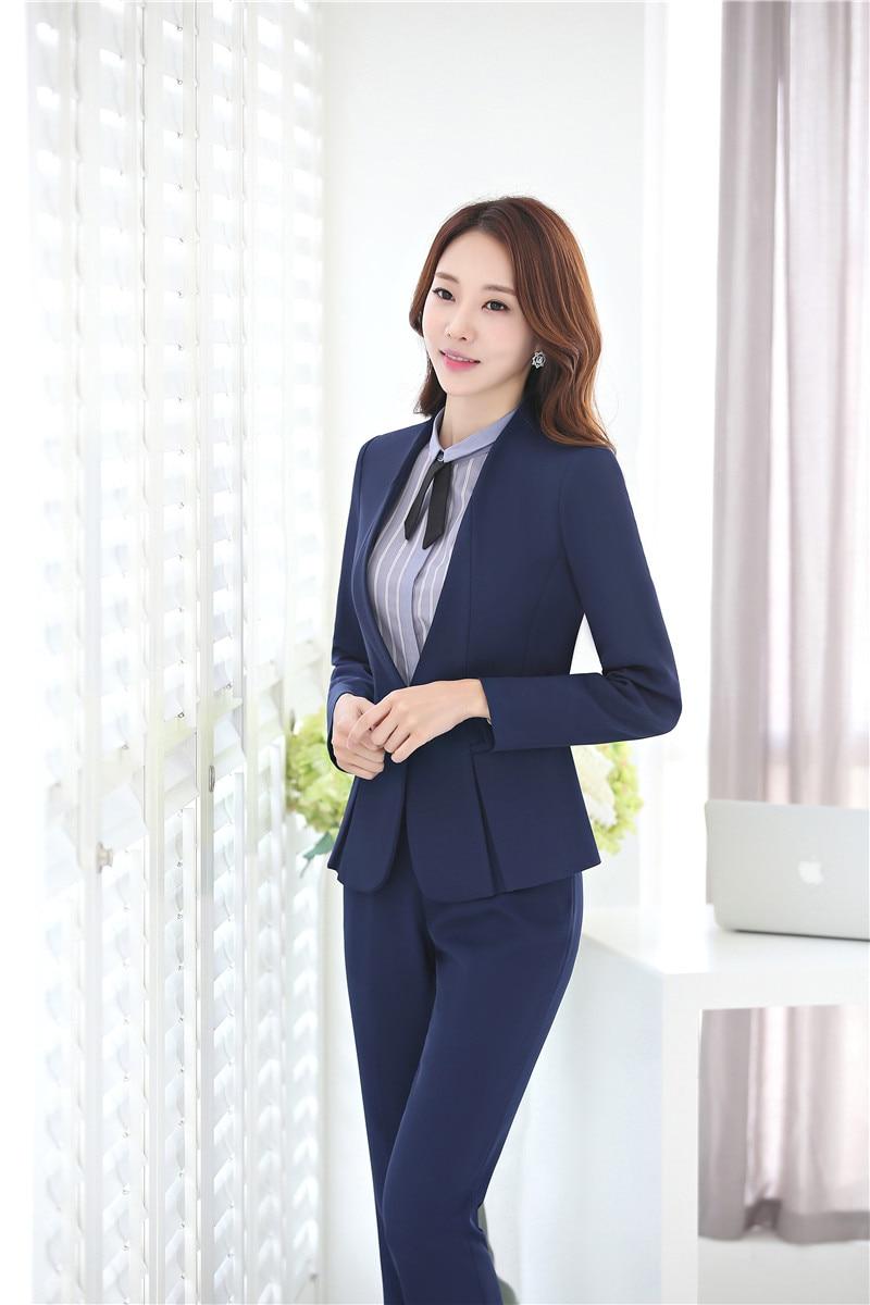 Formal azul oscuro blazer mujeres negocios Trajes Oficina formal Trajes  trabajo pantalones y chaqueta Sets señoras uniformes ol estilos en Trajes  de ... 78dabafa5fc