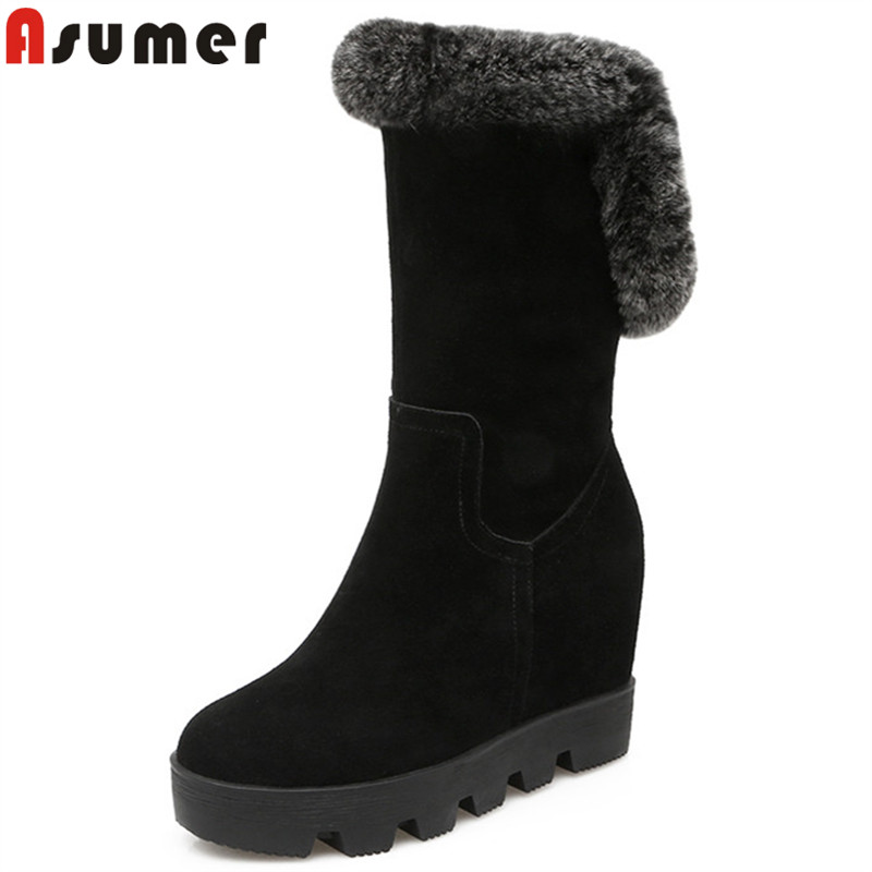 ASUMER 2018 fashion winter snow boots keep warm round toe zip suede leather boots height increasing mid calf boots fur ladies цена