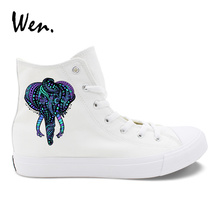 Wen Design Elephant Totem Ethnic Style Womens White Casual Canvas Shoes High Top Black Mens Vulcanized Sneakers
