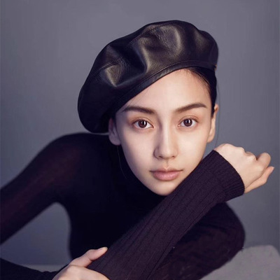 9d203d2c6b422 Fashion Felt Pu Leather Beret Hat Women Cap Female Ladies Beanie Beret  Girls For Spring And