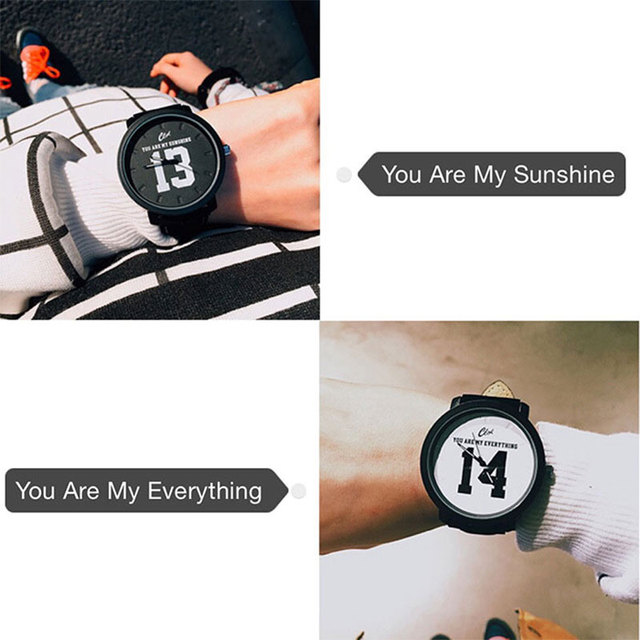 Fashion Hot Selling Superior Quartz Analog Faux Black Leather Band Wrist Watch with Number 13 and 14 1