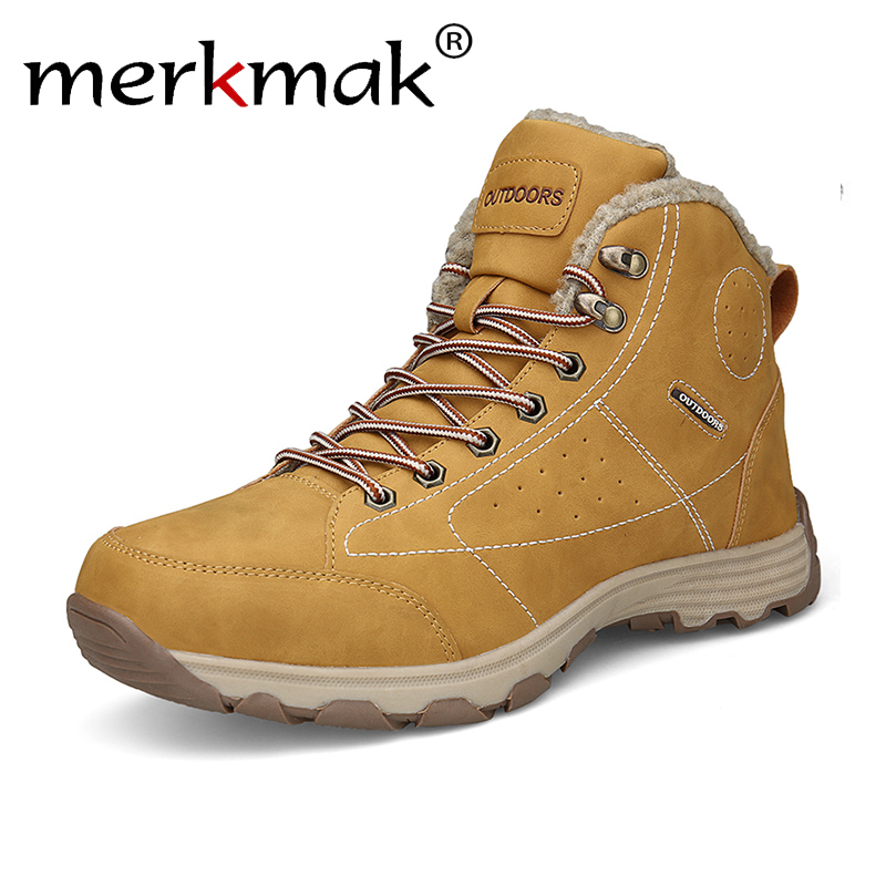 Merkmak Winter Shoes Men Rubber Snow Boots Male Genuine Leather Ankle Boots For Men Fashion Man Martens Shoes with fur 2018 New 2018 new genuine leather men boots winter man casual shoes with fur warm fashion ankle boot men s snow shoe work vintage male
