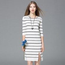 Весна бутик Хлопок модал трикотажные платья женщин Высококачественные эластичные Европейский стиль семь рукава круглый вырез горловины мини-платья B711