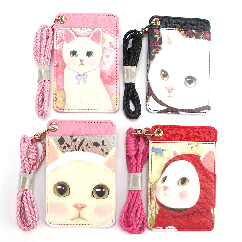 Lovely Cat Name Credit Card Holders Women PU Bank Card Neck Strap Card Bus ID holders candy colors Identity badge with lanyard high grade pu card holder staff identification card neck strap with lanyard badge neck strap bus id holders