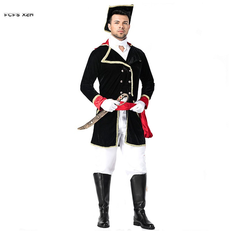 Men Halloween Pirate Costumes Knight officer soldier uniform Cosplays Carnival Purim Masquerade Stage play Nightclub party dress