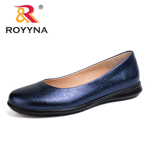 Image 1 - ROYYNA Hot Style Women Flats Round Toe Women Loafers Metal Color Material Female Shoes Light Soft PU Out Soles Ladies Shoes