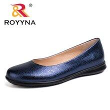 Royyna Hot Phong Cách Đế Phẳng Mũi Tròn Nữ Cho Nữ Màu Kim Loại Chất Liệu Nữ Ánh Sáng PU Mềm Ra Đế Nữ giày