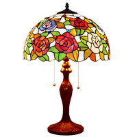Stained Glass Flower Wedding Marriage Room Hotel Cafe Bar Restaurant Decorative Large LED Bedside Desk Table Lamp Light Two E27