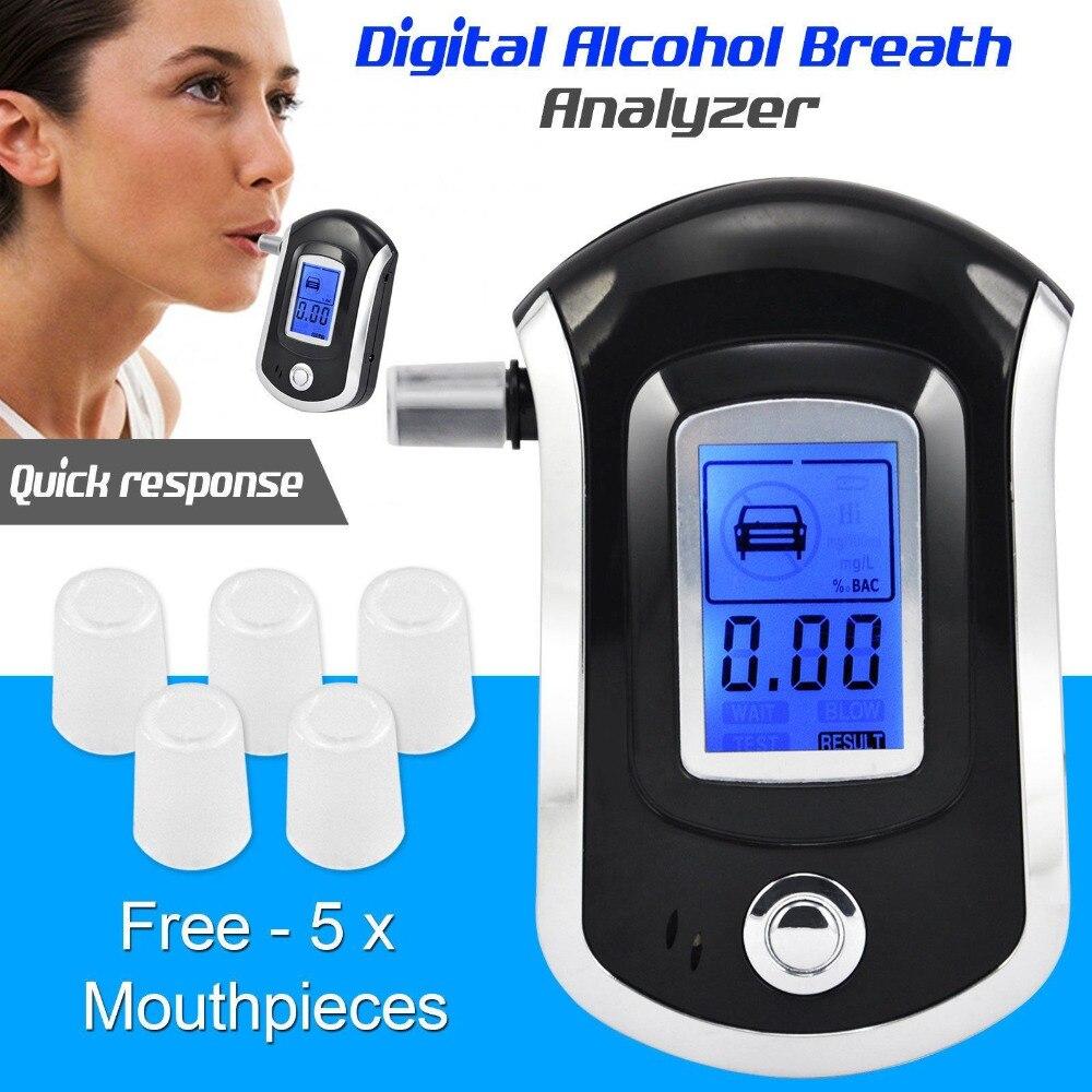 AT6000 Digitale Atem Alkohol Tester LCD Alkoholtester Analyzer Mit 5 Mundstück Hohe Empfindlichkeit Professionelle Schnelle Antwort