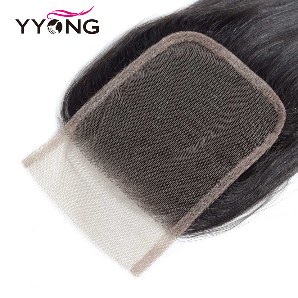 Yyong  Straight Hair Lace Closure Free/Middle/Three Part 100%  4X4 Medium Brown Swiss Lace Top Closure 5