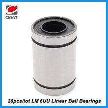 Free Shipping 20pcs lot LM6UU LM6 linear ball bearing 6mm linear bush cnc parts for font